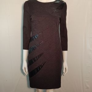 Cache Grey Sweater Dress Pleather Accents